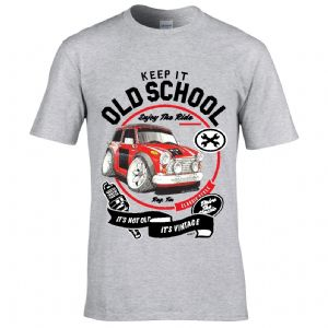 Premium Koolart KEEP IT OLD SCHOOL & Retro Mini Works classic car image mens t-shirt gift